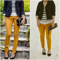 black blazer with striped sweater and mustard yellow slim fit pants