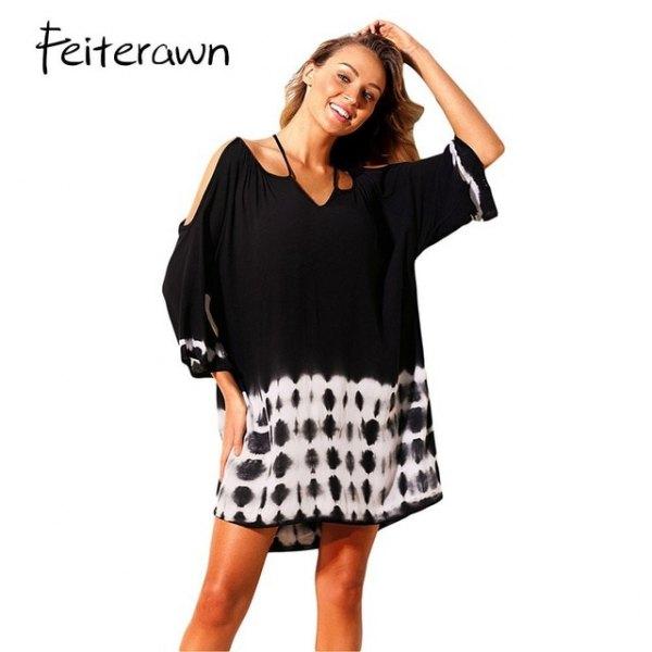 black cold shoulder half sleeve blouse over tie dye shirt dress