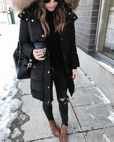 black faux fur hood long parka jacket with ripped skinny jeans