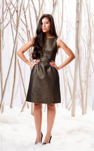 black gathered waist metallic dress with heels