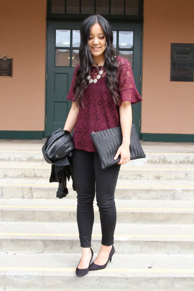 black lace blouse with skinny jeans and ballet heels
