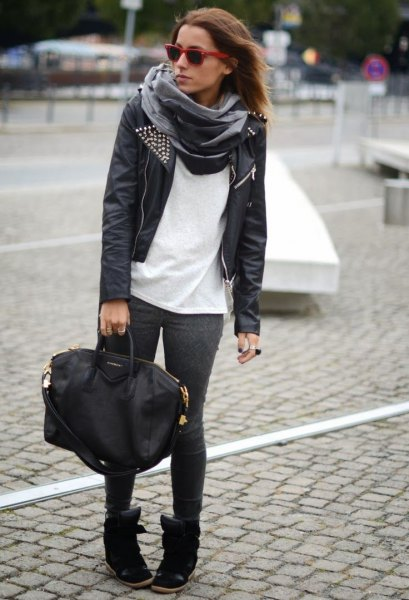 black leather jacket with white tee and grey silk scarf