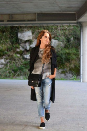 black maxi blazer with striped tee and boyfriend jeans