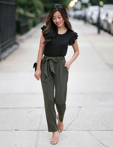 black ruffle sleeve tee with army green tie front slim fit pants