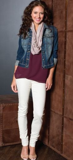 black tunic shirt with blue denim jacket and off white slim fit jeans
