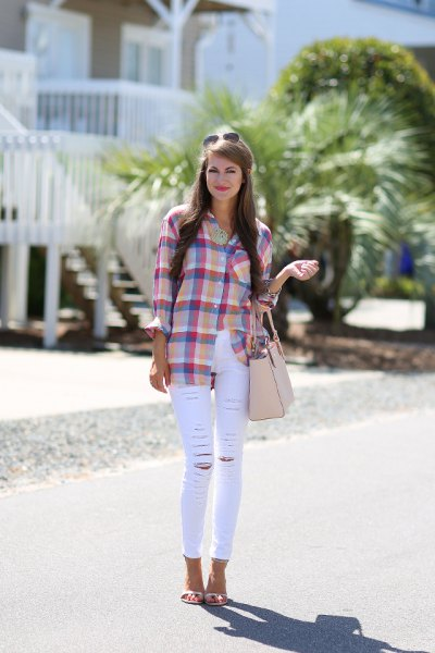 blue and pink plaid shirt with skinny white jeans