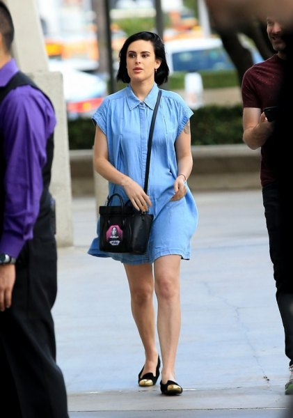 blue denim mini shirt dress with black and gold shoes