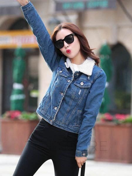 blue fleeced line denim jacket with dark skinny jeans