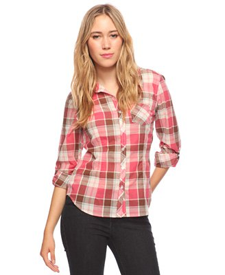 blush pink and white plaid shirt with black skinny jeans