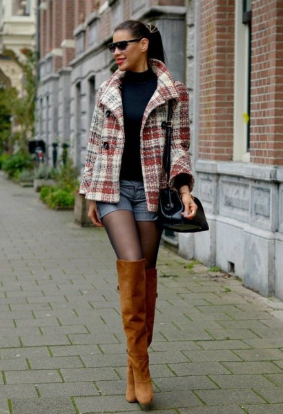 grey and white plaid wool coat with blue denim mini shorts