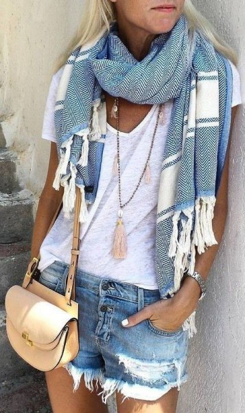 grey and white striped summer scarf with white v neck tee and denim shorts