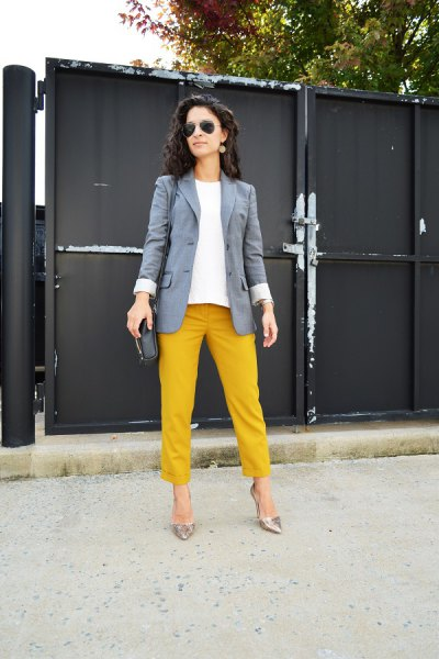 grey blazer with cuffed straight led yellow pants