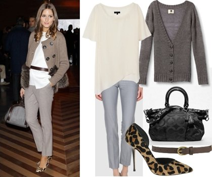 grey cardigan with white belted blouse and chinos