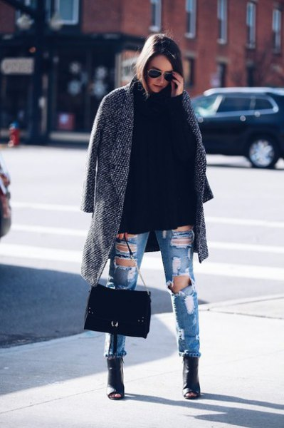grey long tweed blazer with destroyed blue jeans and leather peep toe boots