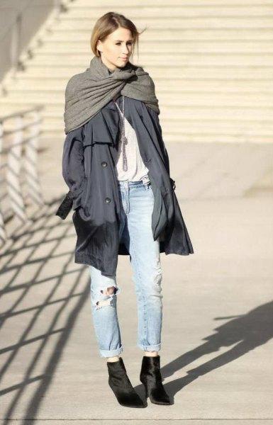 grey longline parka jacket with cuffed light blue boyfriend jeans