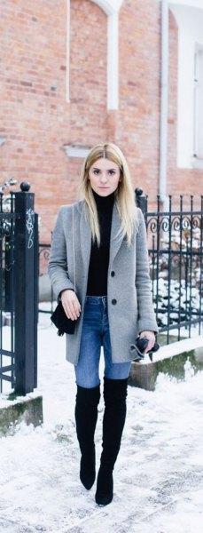 grey longline wool coat with light blue skinny jeans