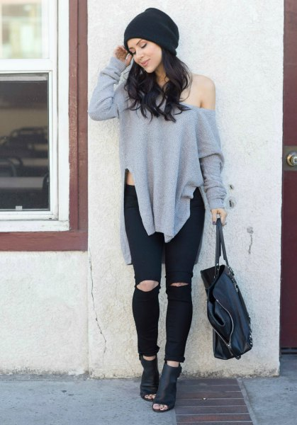 grey one shoulder tunic side slit sweater with ripped jeans