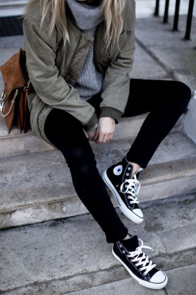 grey parka jacket with turtleneck sweater and black and white high top canvas shoes
