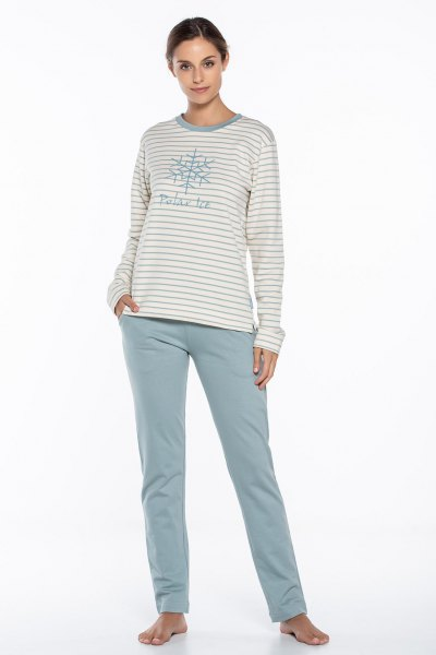 light grey and white striped graphic tee with relaxed fit pants