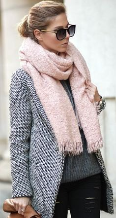 light pink fringe scarf with black and white tweed blazer and leather leggings