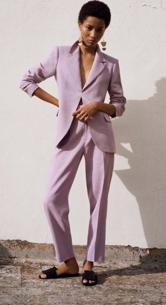 light purple suit jacket and matching relaxed fit pants