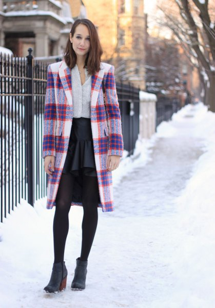 navy and white long wool coat with black chiffon skirt