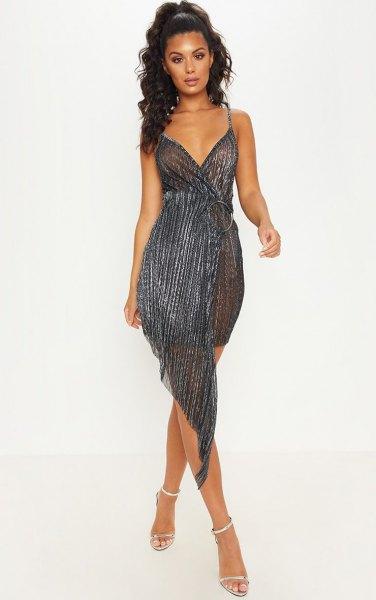 navy blue and black deep v neck high low gathered waist dress