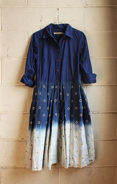 navy blue and white tie dye color block shirt dress