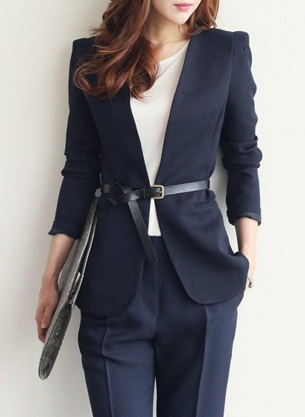 navy blue belted blazer with matching chinos
