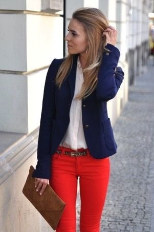 navy blue blazer with white chiffon blouse with red skinny jeans