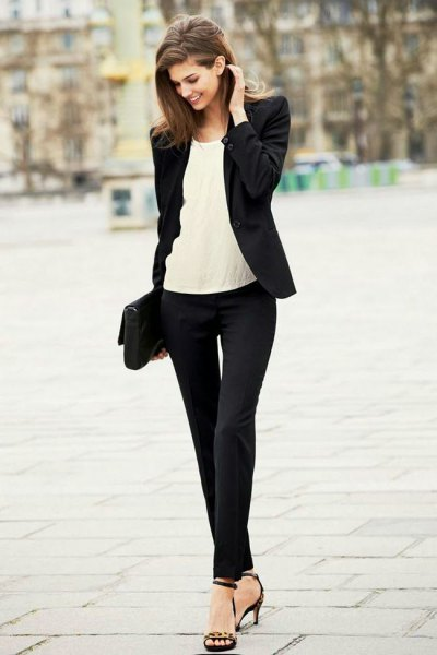 off white chiffon blouse with black fitted blazer