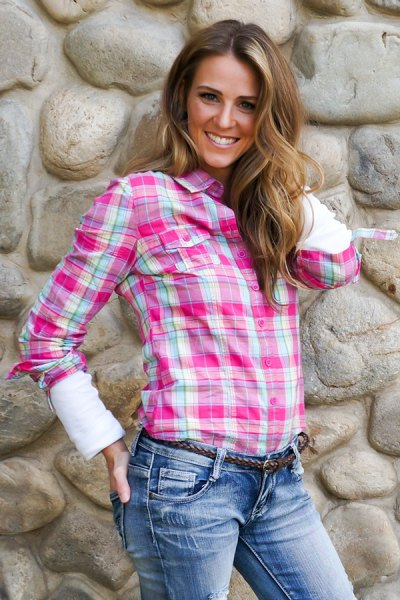 pink blazer with white long sleeve tee and washed jeans