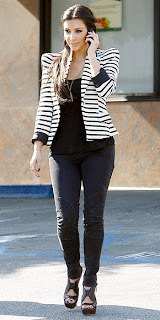 puff shoulder striped blazer with scoop neck tank top and heeled sandals