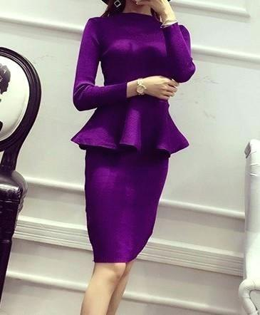 purple peplum top with matching pencil skirt