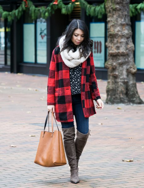 red and black wool coat with white infinity scarf