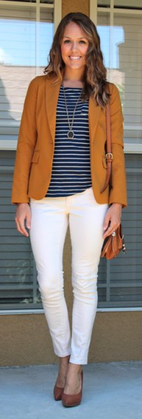 red blazer with striped tee and ankle jeans