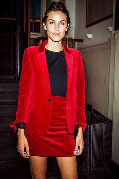 red velvet suit jacket with matching high waisted mini skirt