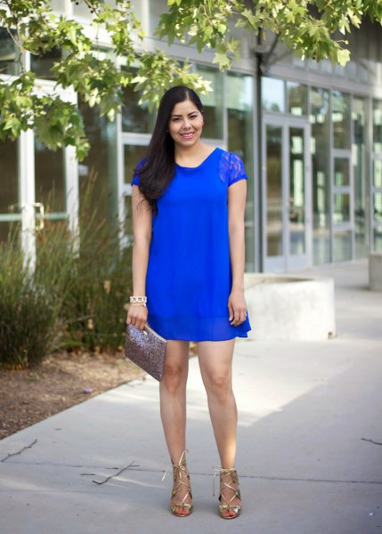 royal blue cap sleeve lace mini shift dress with strappy metallic heels