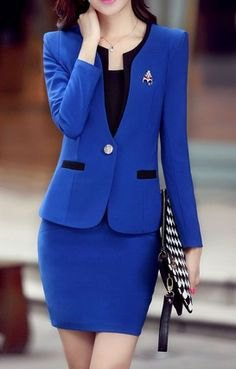 royal blue slim fit suit jacket with matching bodycon mini skirt