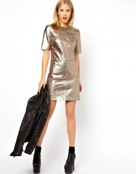 silver short sleeve mini metallic dress with black moto jacket