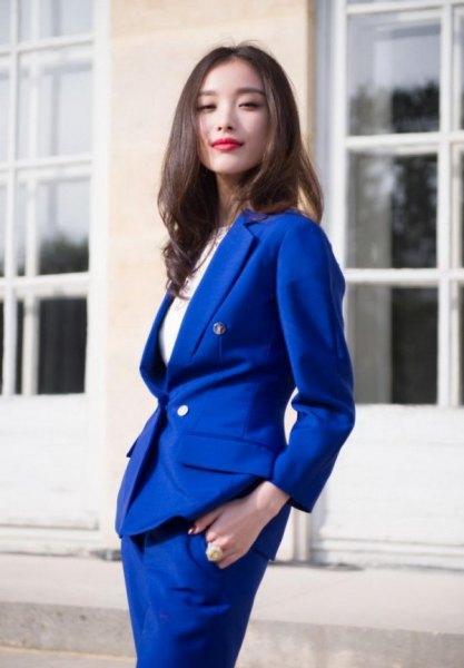skirt suit with white ribbed cotton long sleeve slim fit top