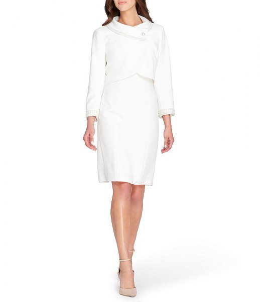 slim fit wrap blazer with knee length shift dress and pink heels