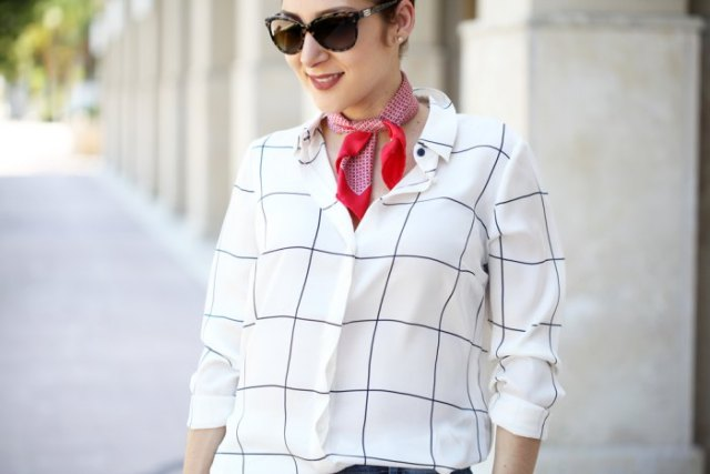 white and black plaid shirt with red mini silk summer scarf