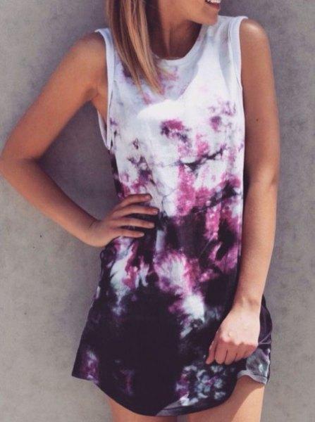 white and black tie dye sleeveless shirt dress