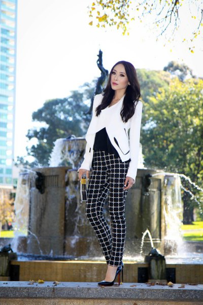 white blazer with black plaid flannel pants