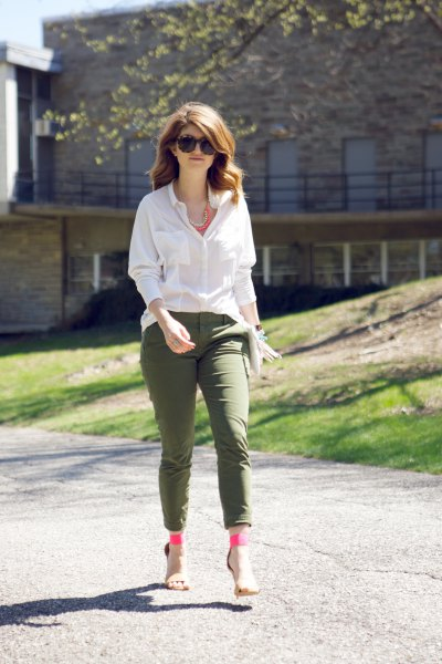 white button up blouse with army green ankle pants