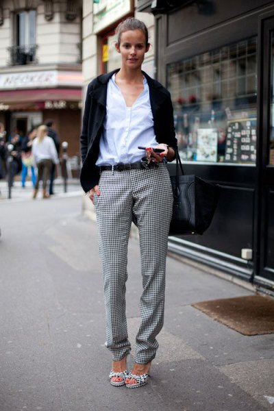 white button up shirt with black casual blazer and checkered flannel pants