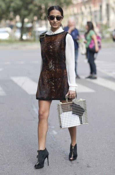 white collar shirt with grey velvet mini tank dress