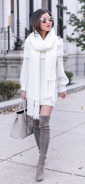 white fringe scarf with matching sweater dress and grey thigh high boots