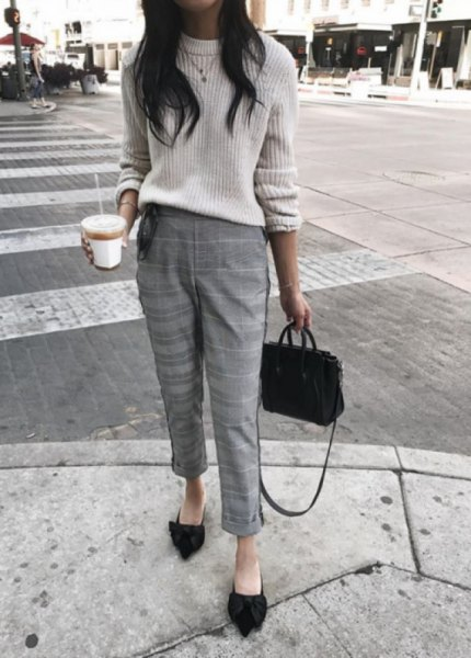 white ribbed chunky sweater with cropped plaid slim fit pants